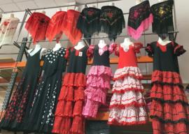 Flamenco jurk / Spaanse jurk dames rood zwart