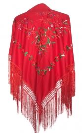 Spaanse manton rood met rode rozen,  franjes rood zwart