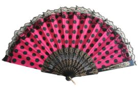 Flamenco Fan pink black dots