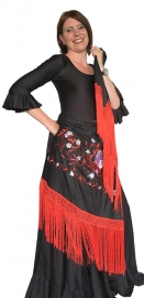 Flamenco shawl black red white flower Large