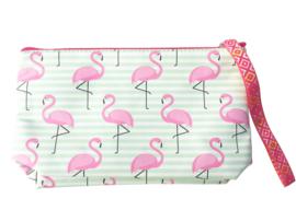 Flamingo hand tasje | make up tasje