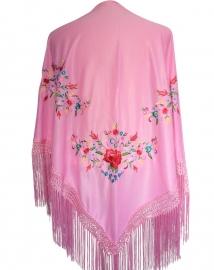 Spaanse manton/omslagdoek licht roze met bloemen