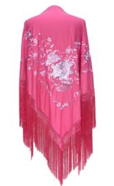 Spaanse manton/omslagdoek roze witte bloemen LARGE