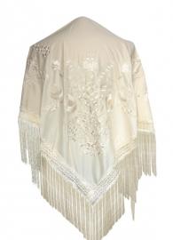 Spaanse manton/omslagdoek, creme wit met witte bloemen