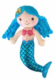 Zeemeermin pop knuffel blauw
