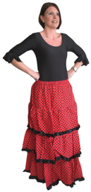Spaanse verkleed rok dames rood zwart