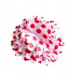 Flamenco hair flower white red dots