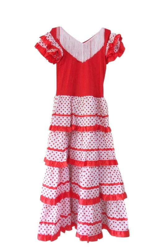 Robe Flamenco rouge blanc Femmes