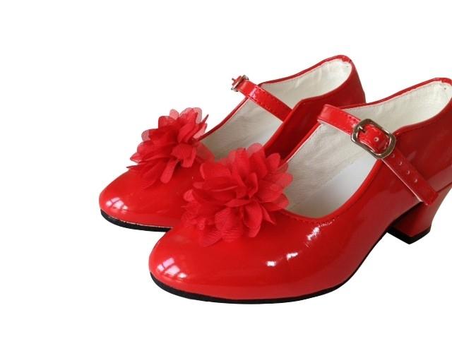 Spaanse Schoenen Clip bloem rood