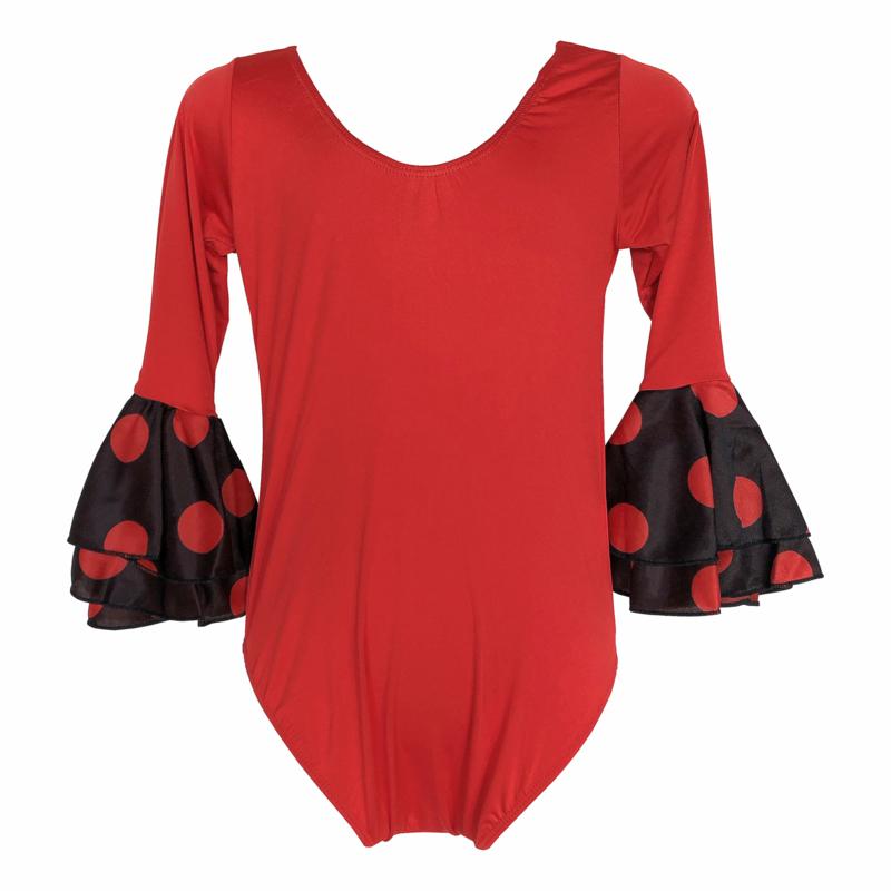 Flamenco body meisjes rood  3/4 mouw stippen volants