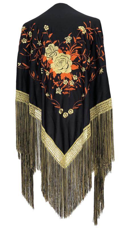 Flamenco shawl black orange gold, Large