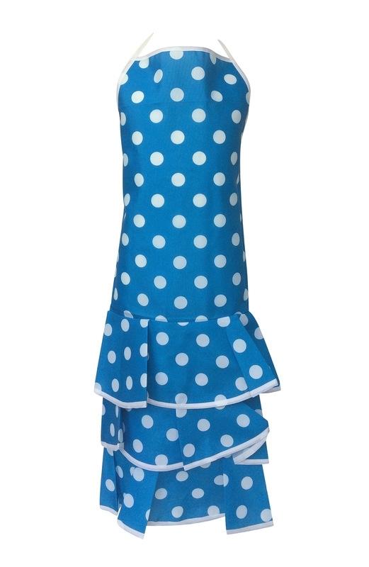 Flamenco Apron blue white dots