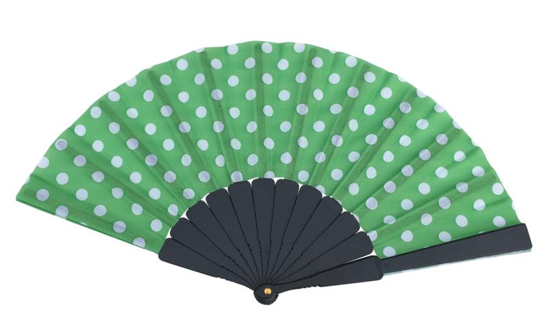 Flamenco Fan green white dots