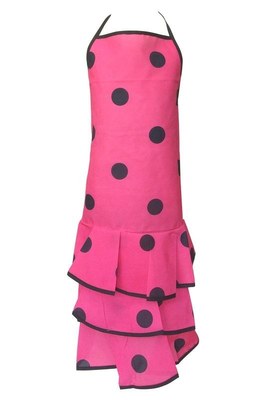 Flamenco Apron pink black dots