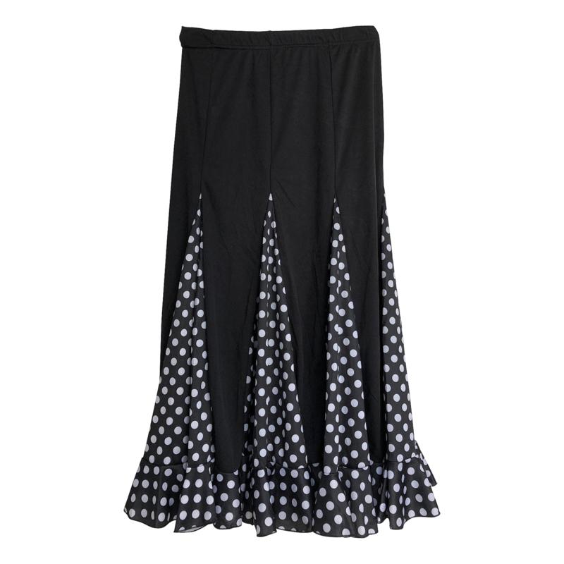 Spaanse flamenco rok meisjes zwart witte stippen NIEUW