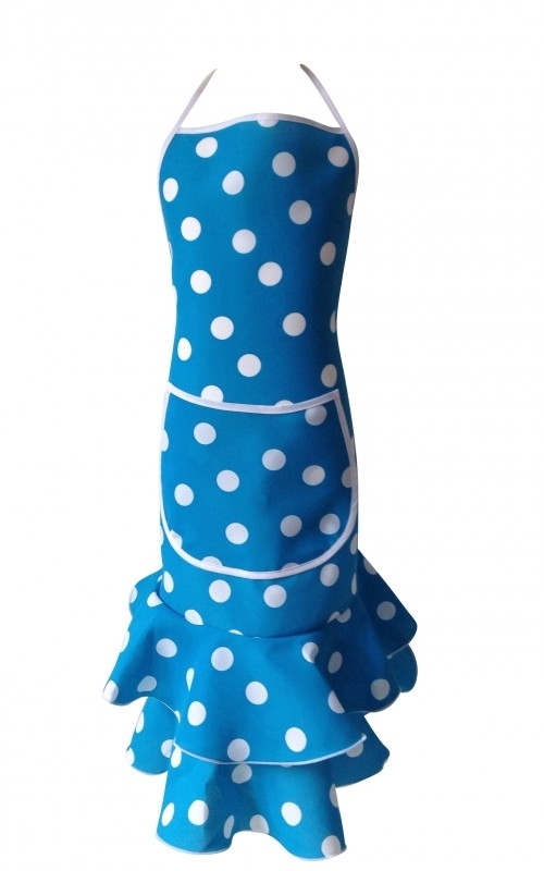 Spaanse schort blauw met witte stippen Luxe