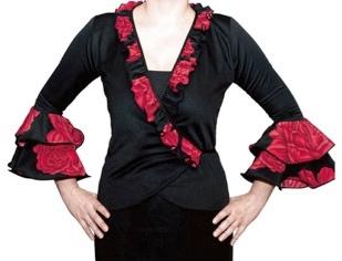 Spaanse bolero, chaqueta met rode rozen
