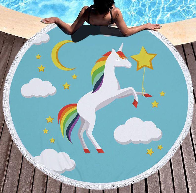 Eenhoorn Unicorn Strandlaken badlaken blauw