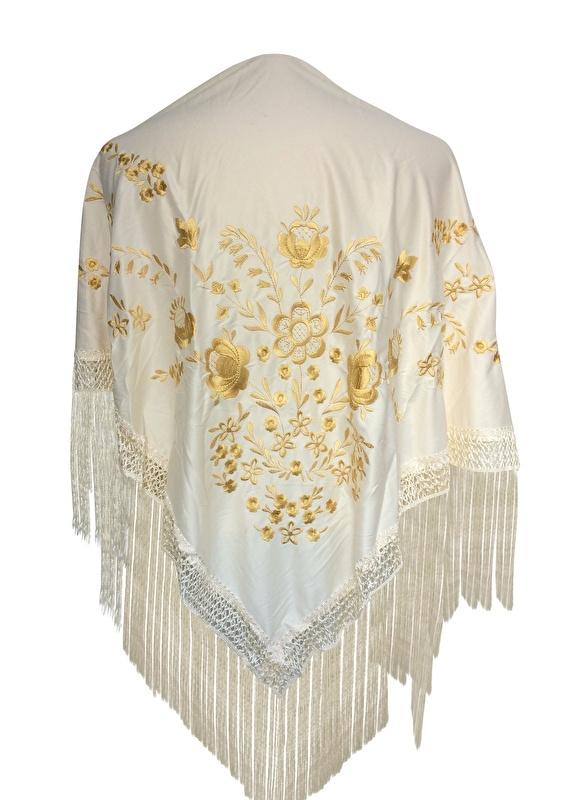 Flamenco Shawl cream white golden flowers Large