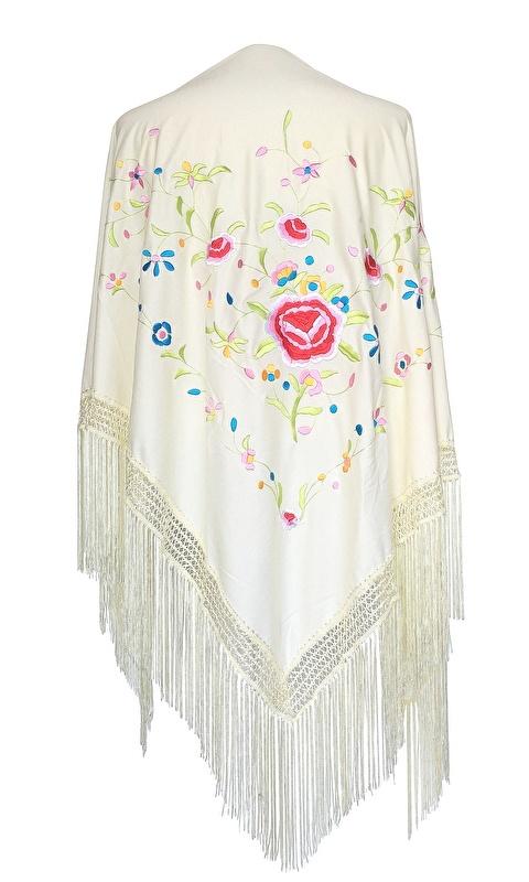 Flamenco Shawl cream white colored flowers Large