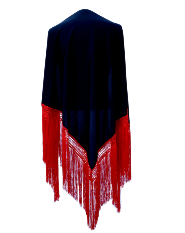Spaanse manton/omslagdoek effen zwart rode franjes Large