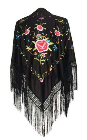 Flamenco shawl black colored flowers Large