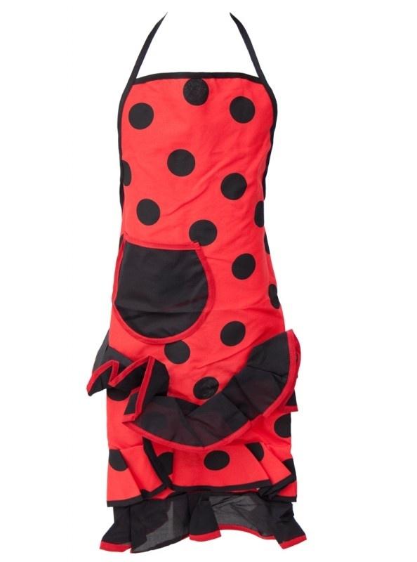 Spaanse flamenco schort rood/zwart met zakje