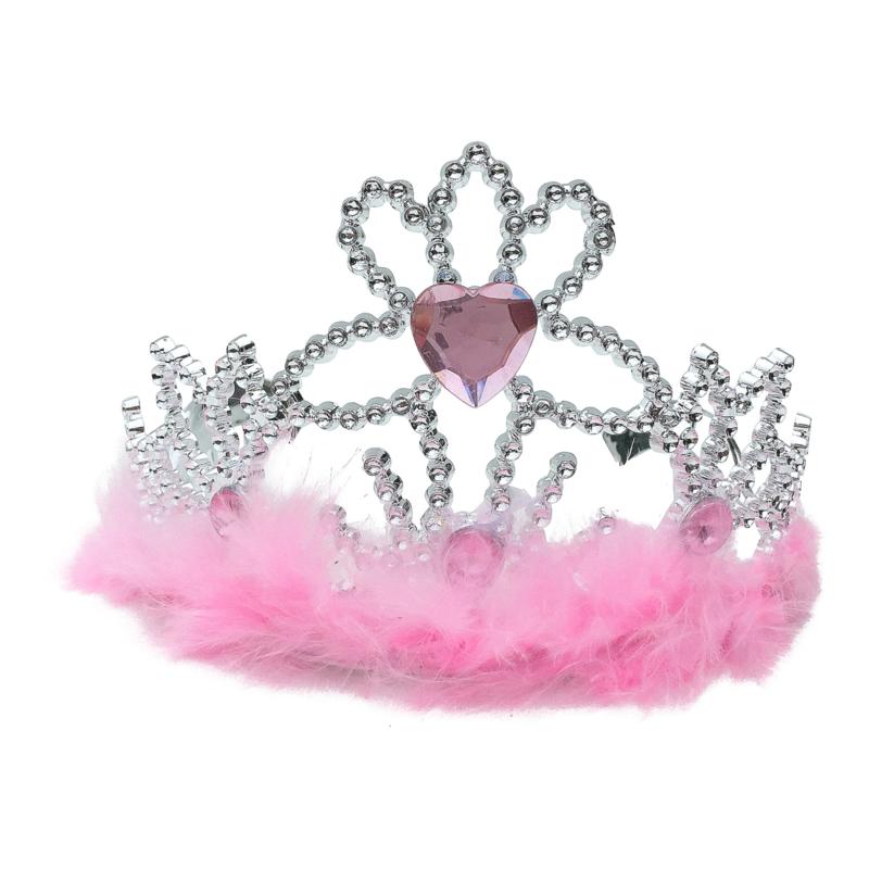 Tiara kroontje roze met veren