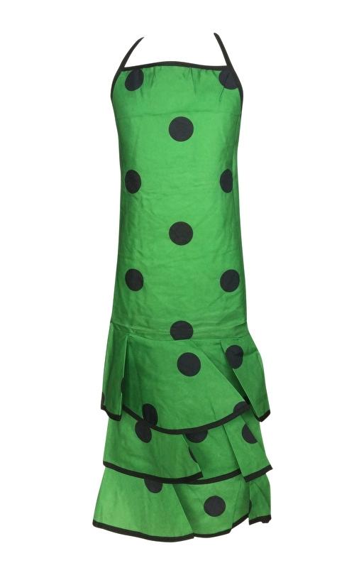 Flamenco Apron green black dots