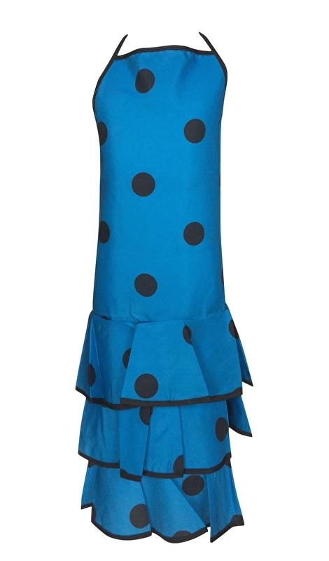 Flamenco Apron blue black dots