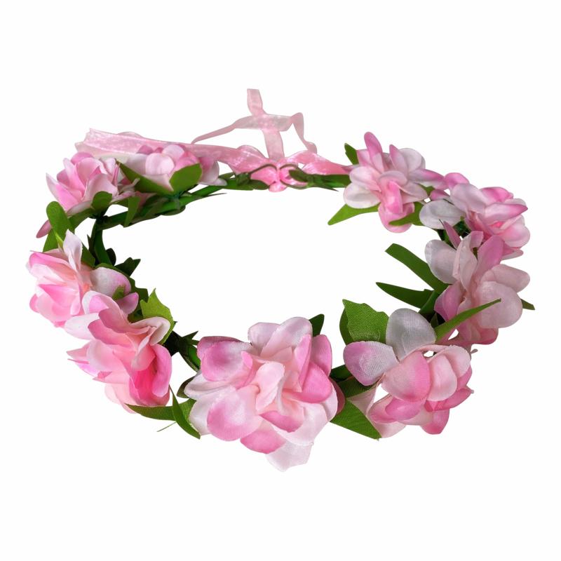 Bloemenkrans haarband met roosjes roze
