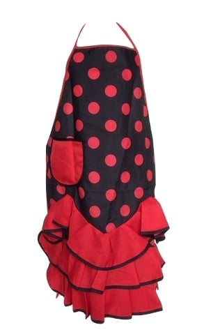 Spaanse flamenco schort zwart/rood met zakje