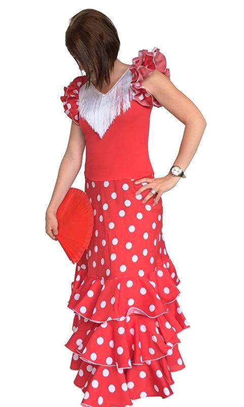 Spaanse flamenco jurk dames Deluxe rood/wit