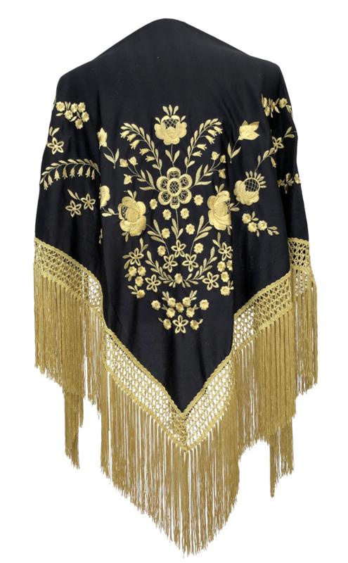 Flamenco shawl black gold golden fringes, Large