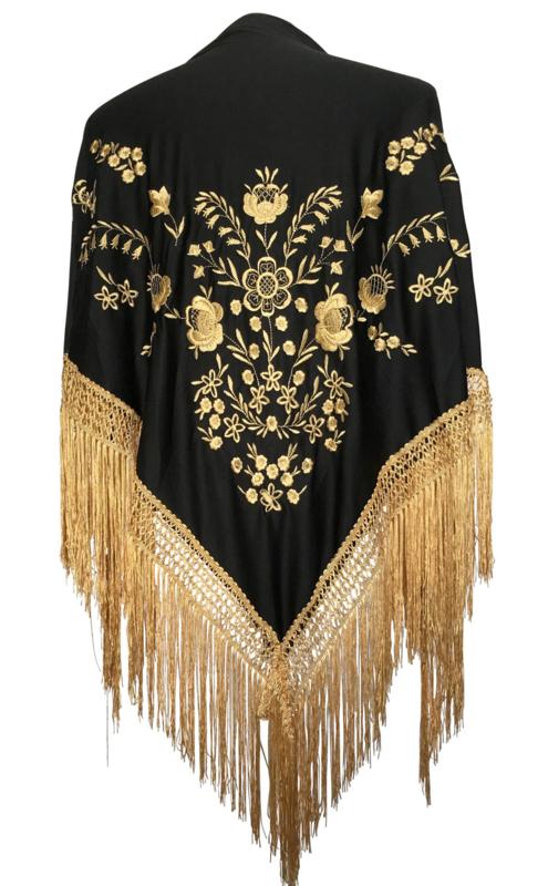Spaanse manton/omslagdoek zwart met gouden bloemen en franjes