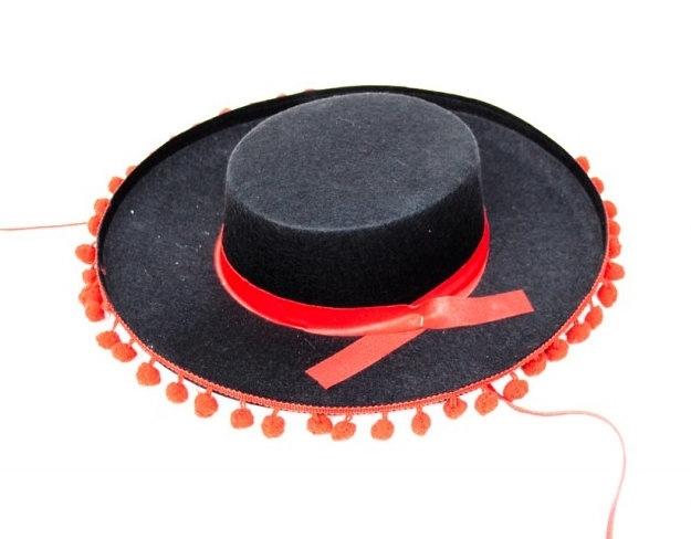 Spaanse sombrero zwart met rood volwassenen
