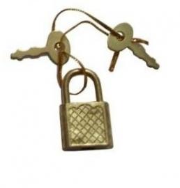 Metalen Mini hangslotje voor dagboek of juwelenkistje koperkleurig [448]