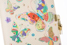 Turnowsky Mosaic Butterfly beige dagboek met slot [1908]