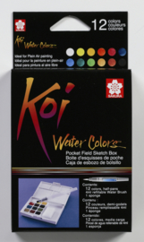 Koi Aquarel Set Pocket Field Sketchbox 12 kleuren waterverf+penseel