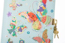 Turnowsky Mosaic Butterfly blauw dagboek met slot [1453]
