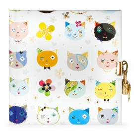Turnowsky Cats white  dagboek met slot