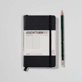 Hardcover Pocket Notitieboek Leuchtturm1917 Gelinieerd 9x15cm (A6) zwart  [331]