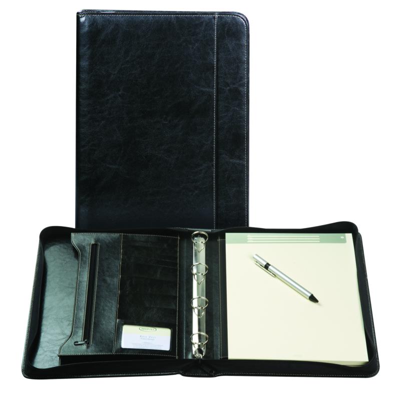 Brepols Palermo Luxe Lederlook schrijfmap 4-rings A4 Zwart