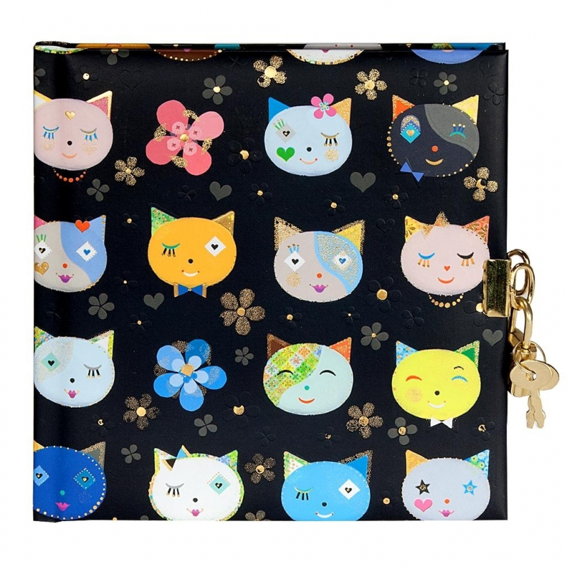 Turnowsky Cats black  dagboek met slot