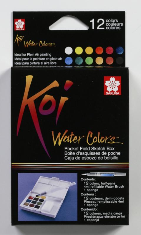 Koi Aquarel Set Pocket Field Sketchbox 12 kleuren waterverf+penseel