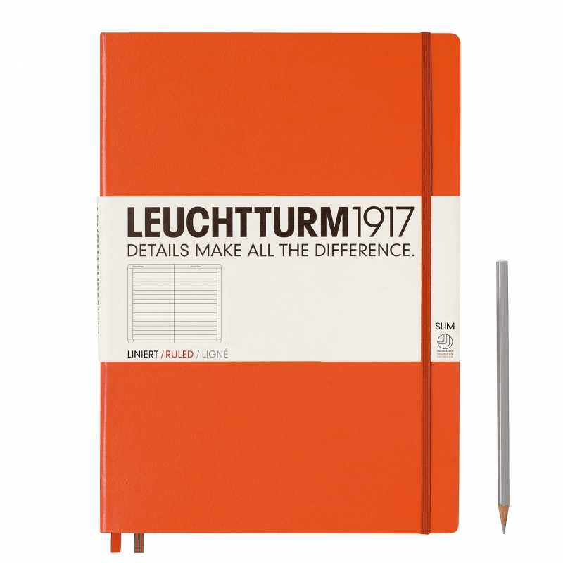 Hardcover Notitieboek Leuchtturm1917 Gelinieerd Master SLIM - A4 Oranje [1602]