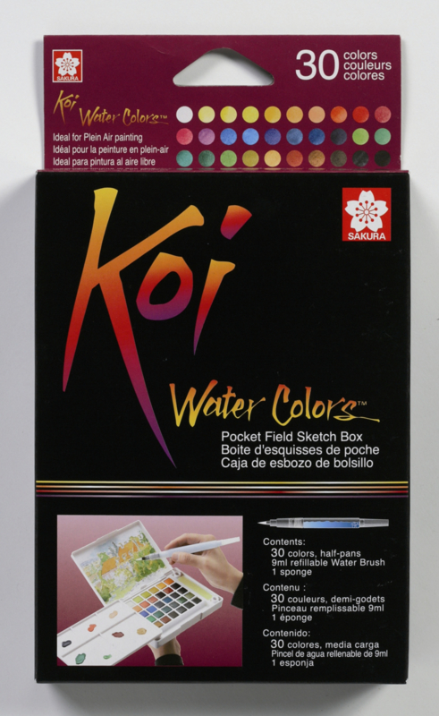 xx Koi  Aquarel Set Pocket Field Sketchbox 30 kleuren waterverf+penseel
