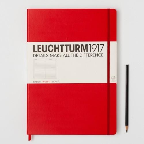 Hardcover Notitieboek Leuchtturm1917 Geruit Master XL Rood - A4 [353]