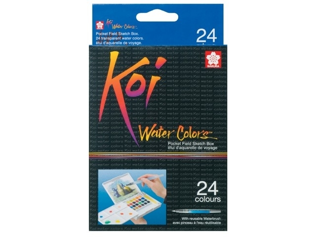 xx Koi  Aquarel Set Pocket Field Sketchbox 24 kleuren waterverf+penseel