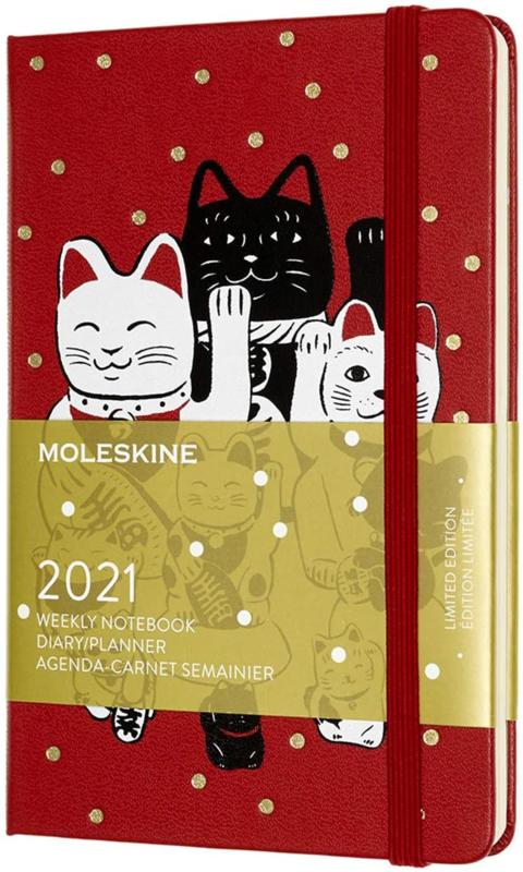 Moleskine 12 MND Agenda - 2021 - LE Planner - Maneki Neko - Wekelijks Notebook - Pocket (9x14 cm)